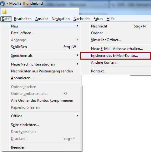 9&9 Hilfe Center - E-Mail-Konto in Thunderbird einrichten