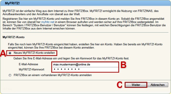 9&9 Hilfe Center - MyFRITZ!-Konto anlegen und im 9&9 DSL-Router
