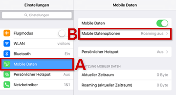 Mobile Datenoptionen antippen