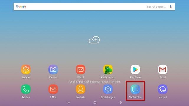 1 1 Hilfe Center Sms Einstellungen Aktualisieren Samsung Tablets Mit Android 8 1