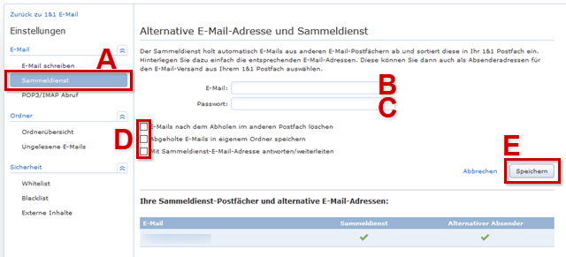 Alternative E-Mail-Adresse und Sammeldienst